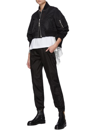 Figure View - Click To Enlarge - SACAI - Back Pleat Crop Nylon Twill Bomber Jacket