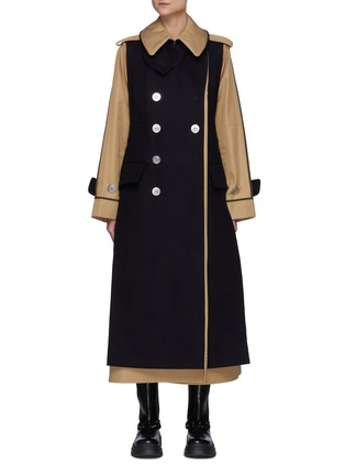 Main View - Click To Enlarge - SACAI - Reversible Cotton Blend Trench Coat