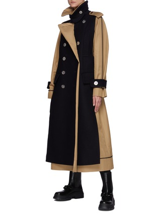 Figure View - Click To Enlarge - SACAI - Reversible Cotton Blend Trench Coat