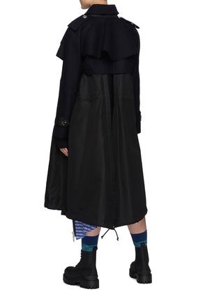 Back View - Click To Enlarge - SACAI - Hybrid Wool Melton Military Jacket Nylon Mix Parka