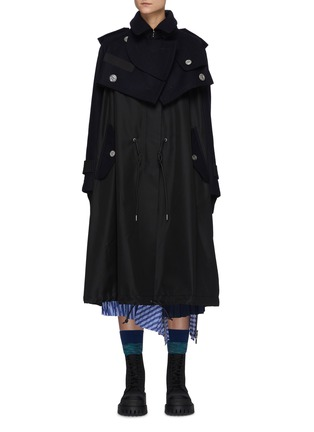 Main View - Click To Enlarge - SACAI - Hybrid Wool Melton Military Jacket Nylon Mix Parka