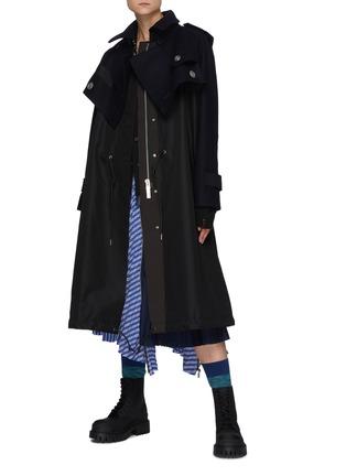 Figure View - Click To Enlarge - SACAI - Hybrid Wool Melton Military Jacket Nylon Mix Parka
