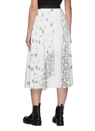 Back View - Click To Enlarge - SACAI - Belted Bandana Opal Print Pleated Midi Skirt