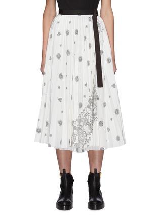 Main View - Click To Enlarge - SACAI - Belted Bandana Opal Print Pleated Midi Skirt