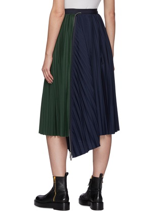 Back View - Click To Enlarge - SACAI - Zip Detail Duo-tone Pleated Midi Skirt