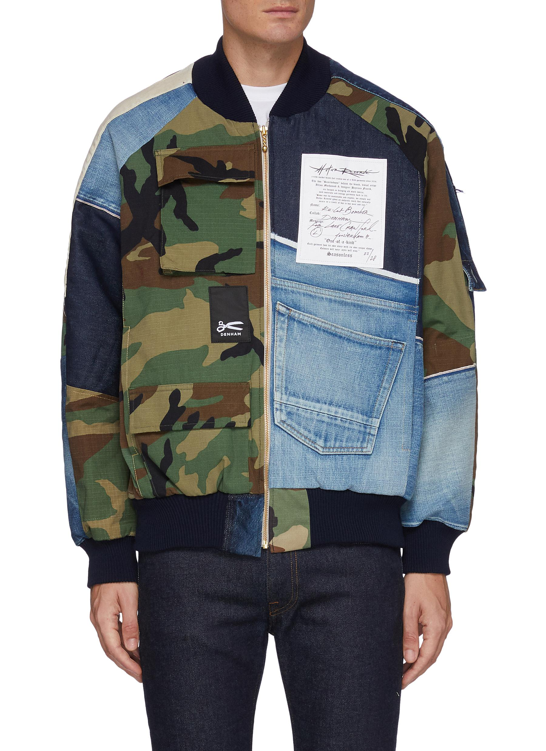 x Lane Crawford Selvedge Jeans Camouflage Patchwork Cotton Bomber Jacket