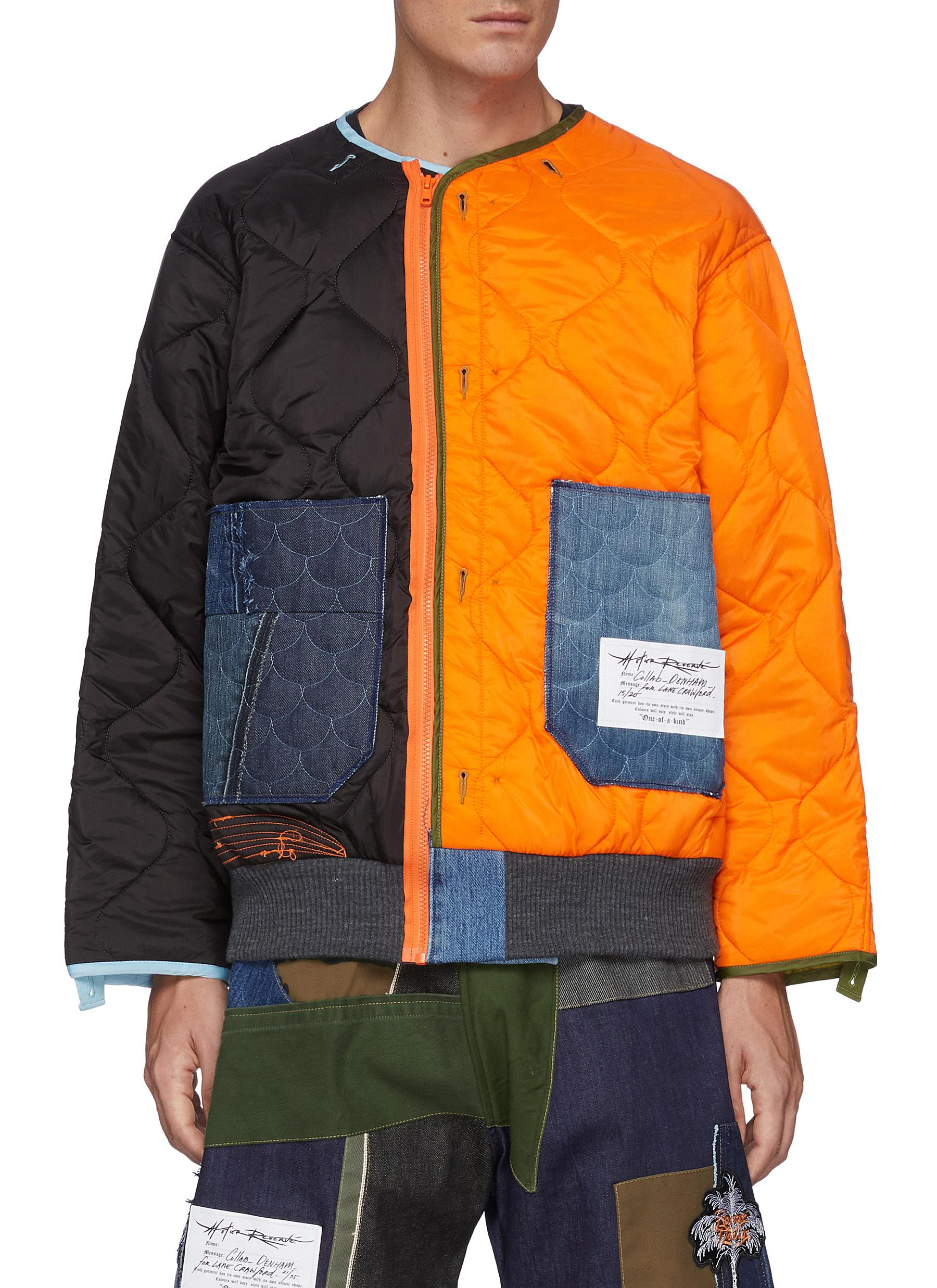 x Lane Crawford Face Embroidered Bicoloured Quilted Nylon Zip Up Jacket