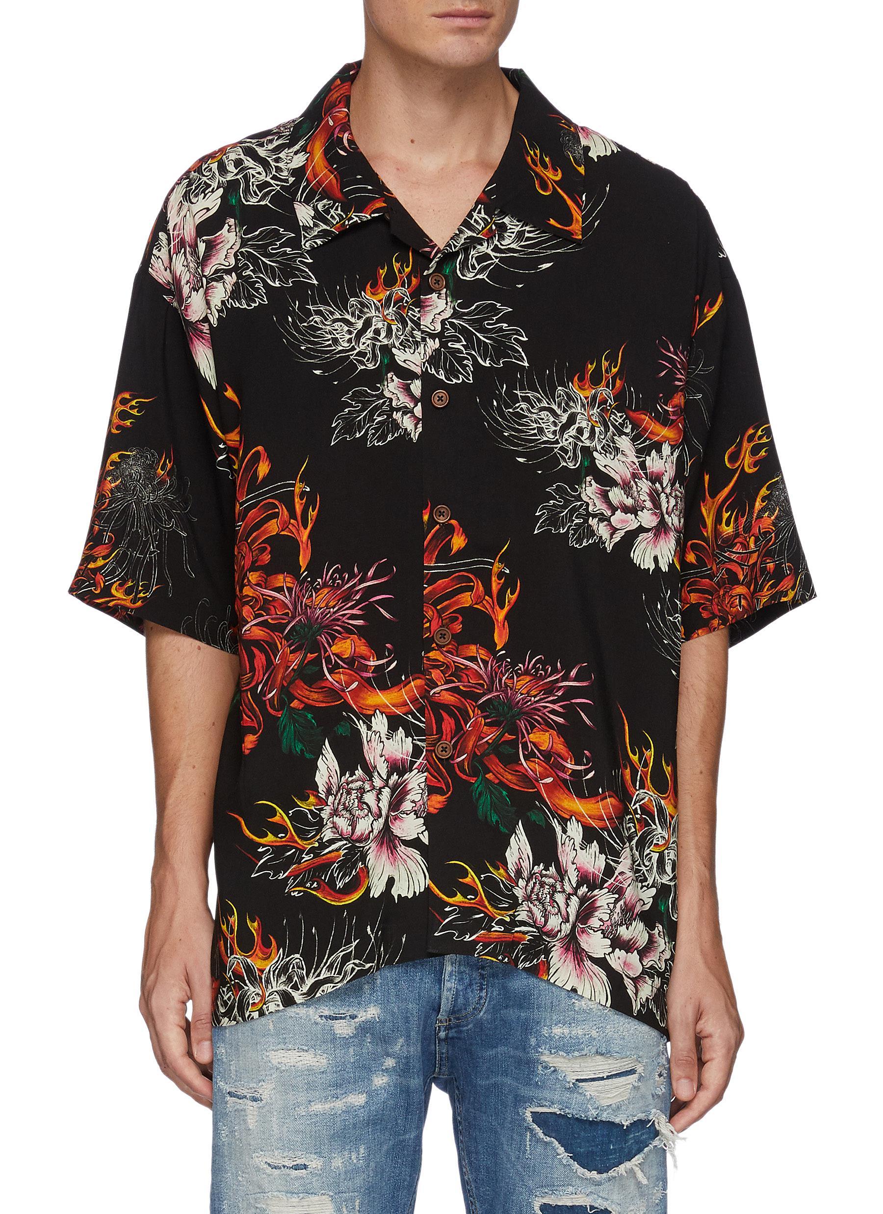 Oversized All Over Flaming Floral Print Hawaiian Shirt
