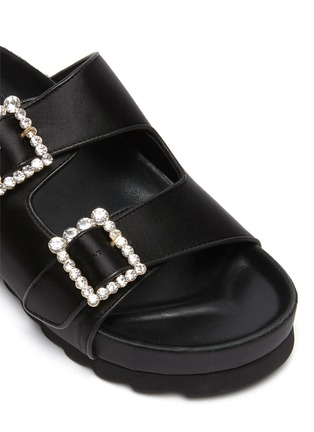 Detail View - Click To Enlarge - PEDDER RED - Ruby' crystal buckle satin double band sandals