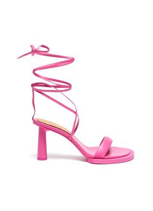 Main View - Click To Enlarge - JACQUEMUS - Les Carre Rond' Mismatched Lace up Sandals