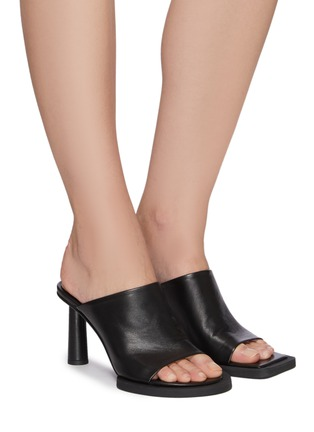 Figure View - Click To Enlarge - JACQUEMUS - Les Mules Carre Rond' Mismatched Leather Mules