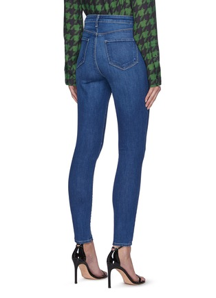 Back View - Click To Enlarge - L'AGENCE - Monique' Whiskered Med Wash Denim Skinny Jeans