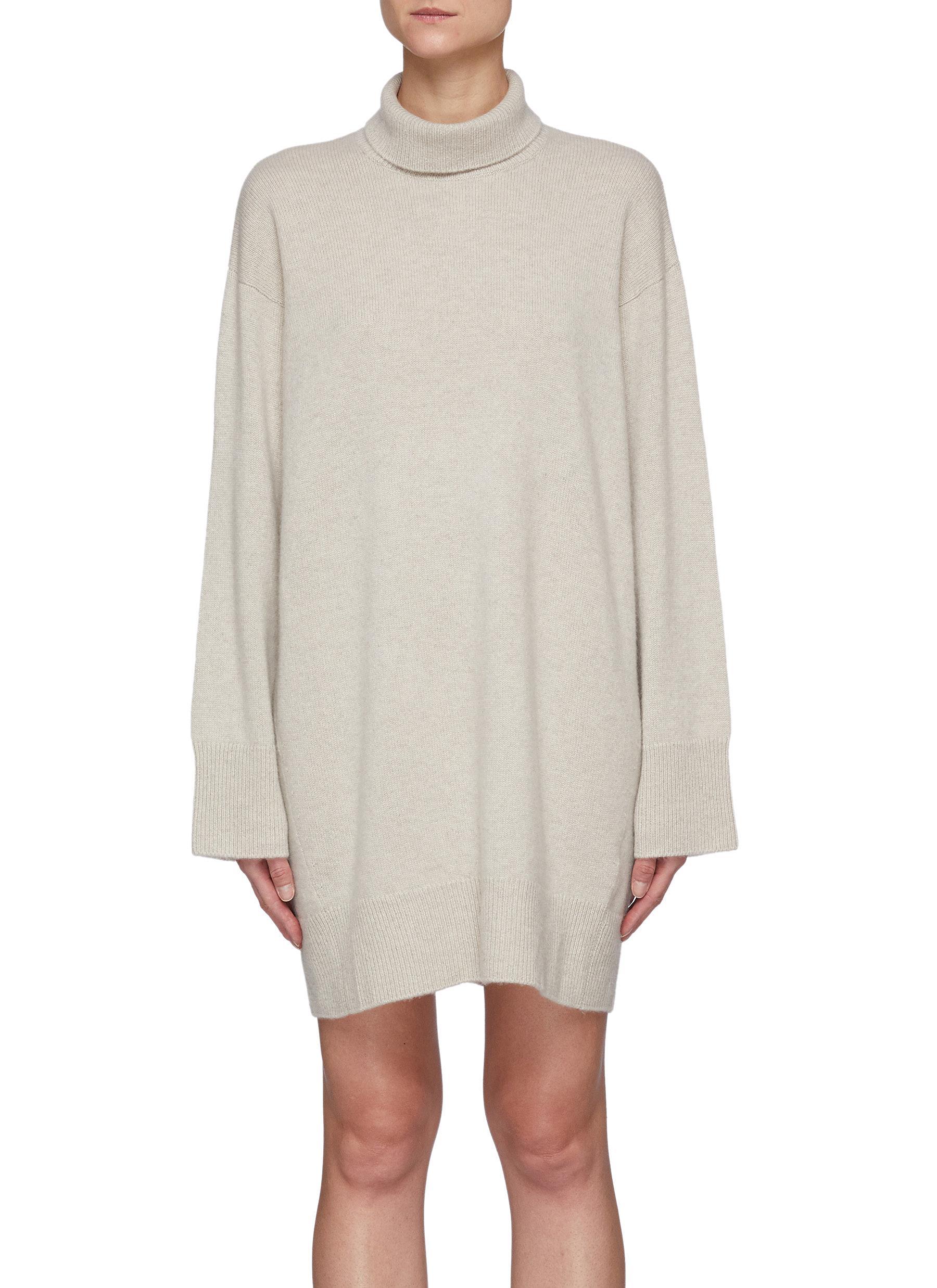 Kalmar' High Neck Organic Cashmere Above Knee Dress