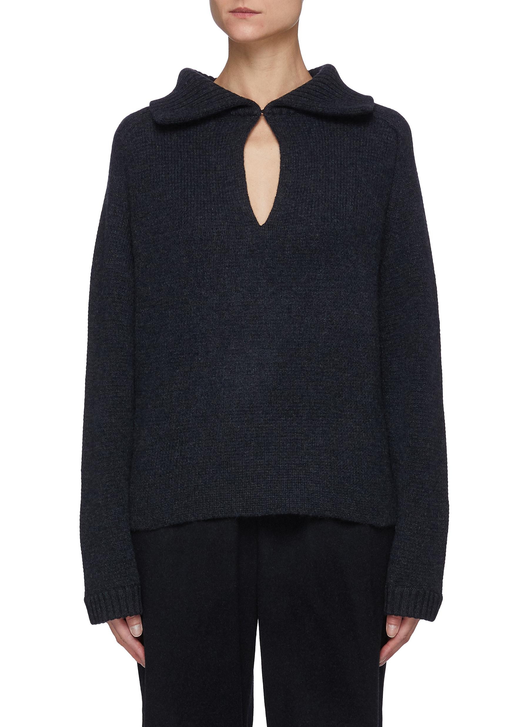 Leling' Wide Collar Front Opening Sweater