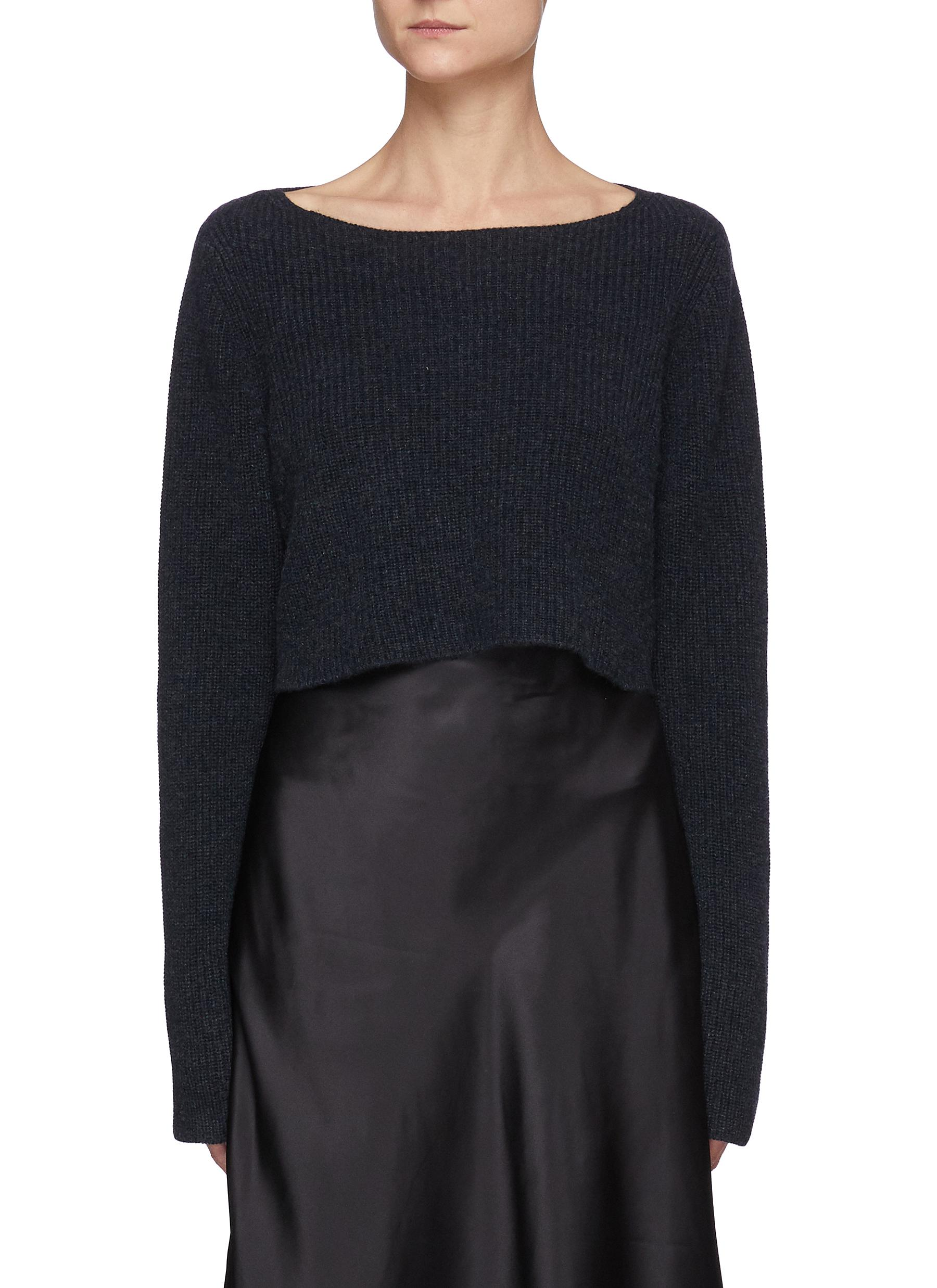 Cannes' Boat Neck Rib Cropped Sweater