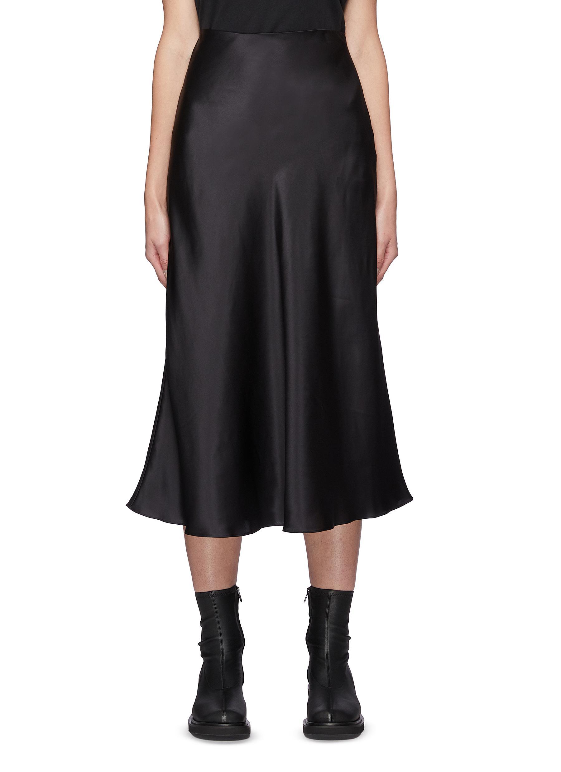 Aksou' Flared Silk Midi Skirt