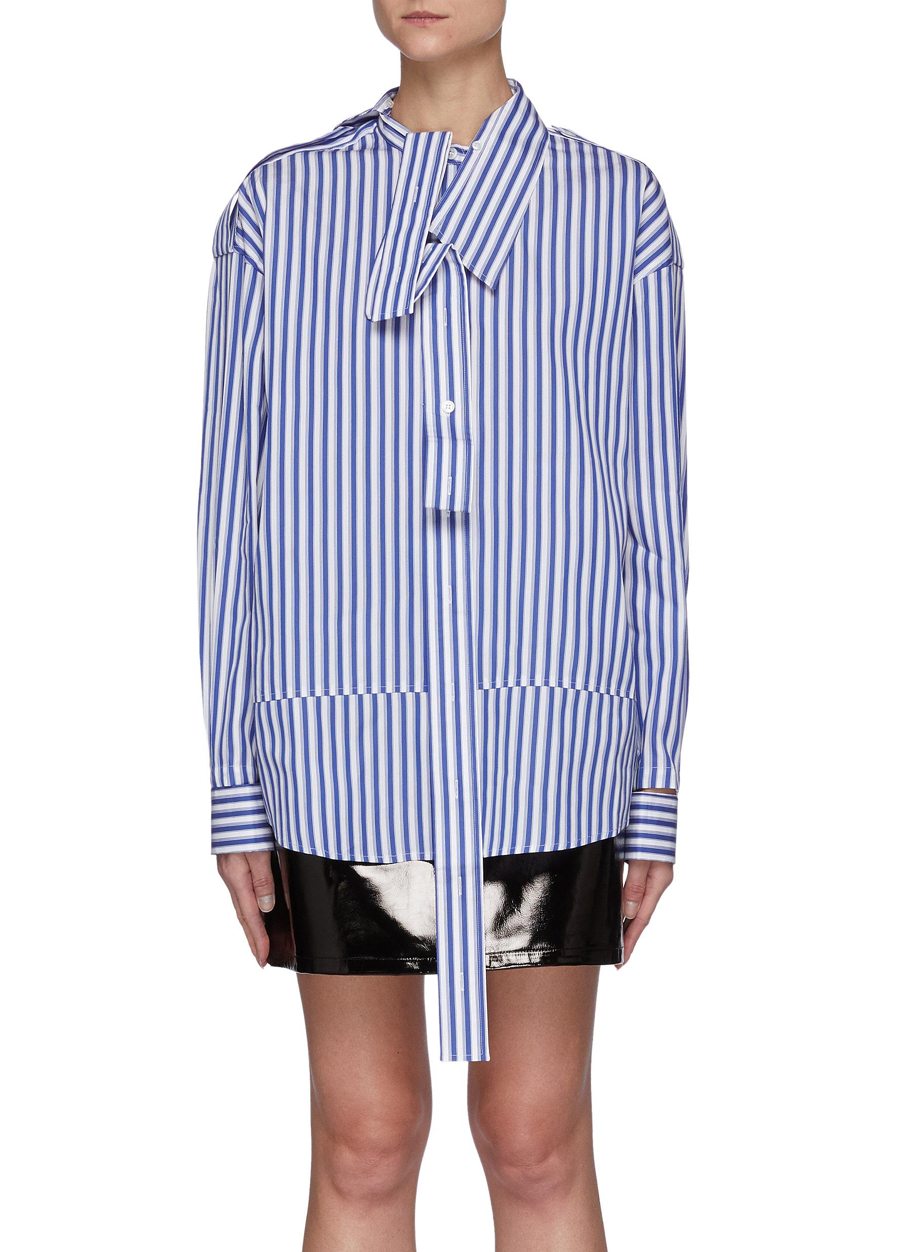 Oversized Double Placket Panelled Striped Cotton Blend Shirt