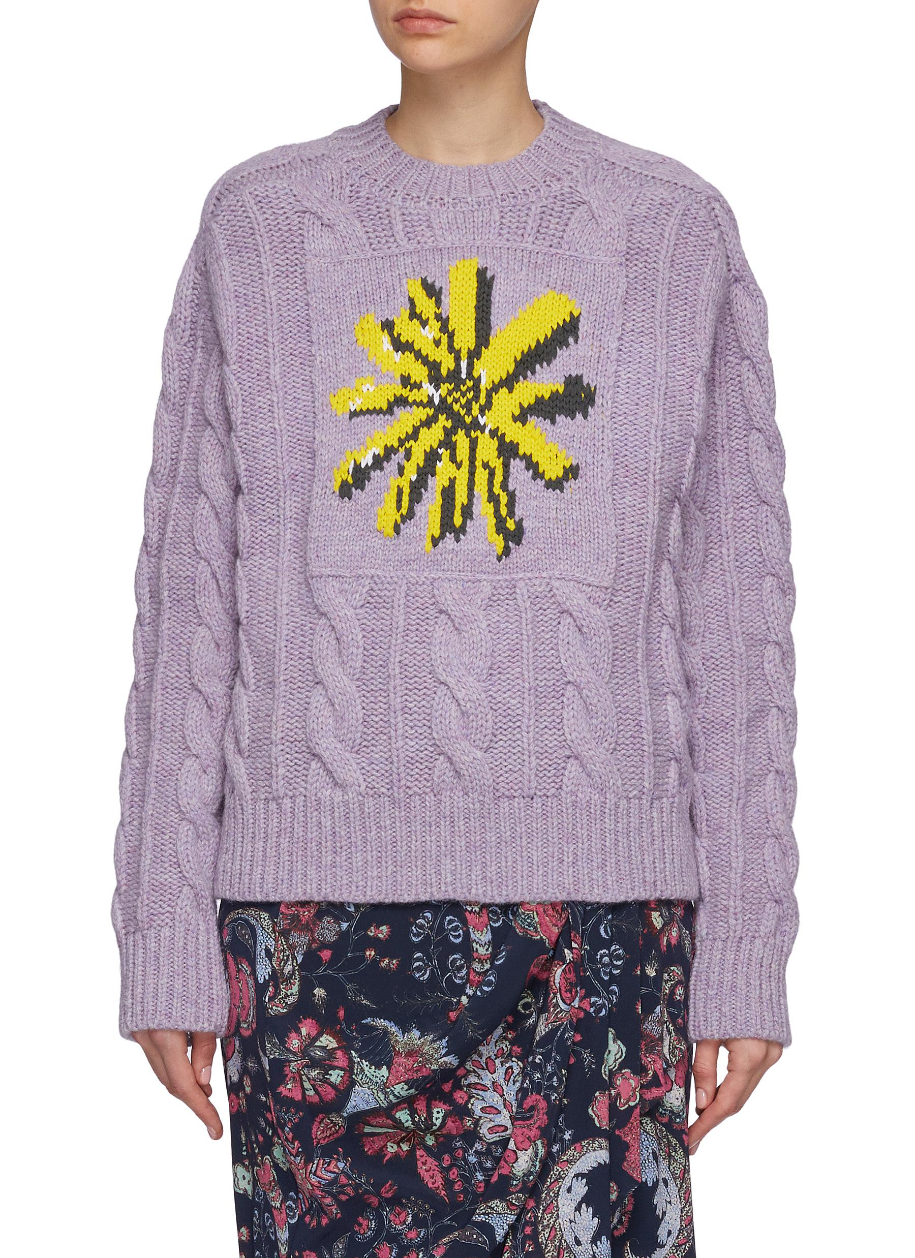 Daisy Jacquard Cable Knit Wool Blend Sweater