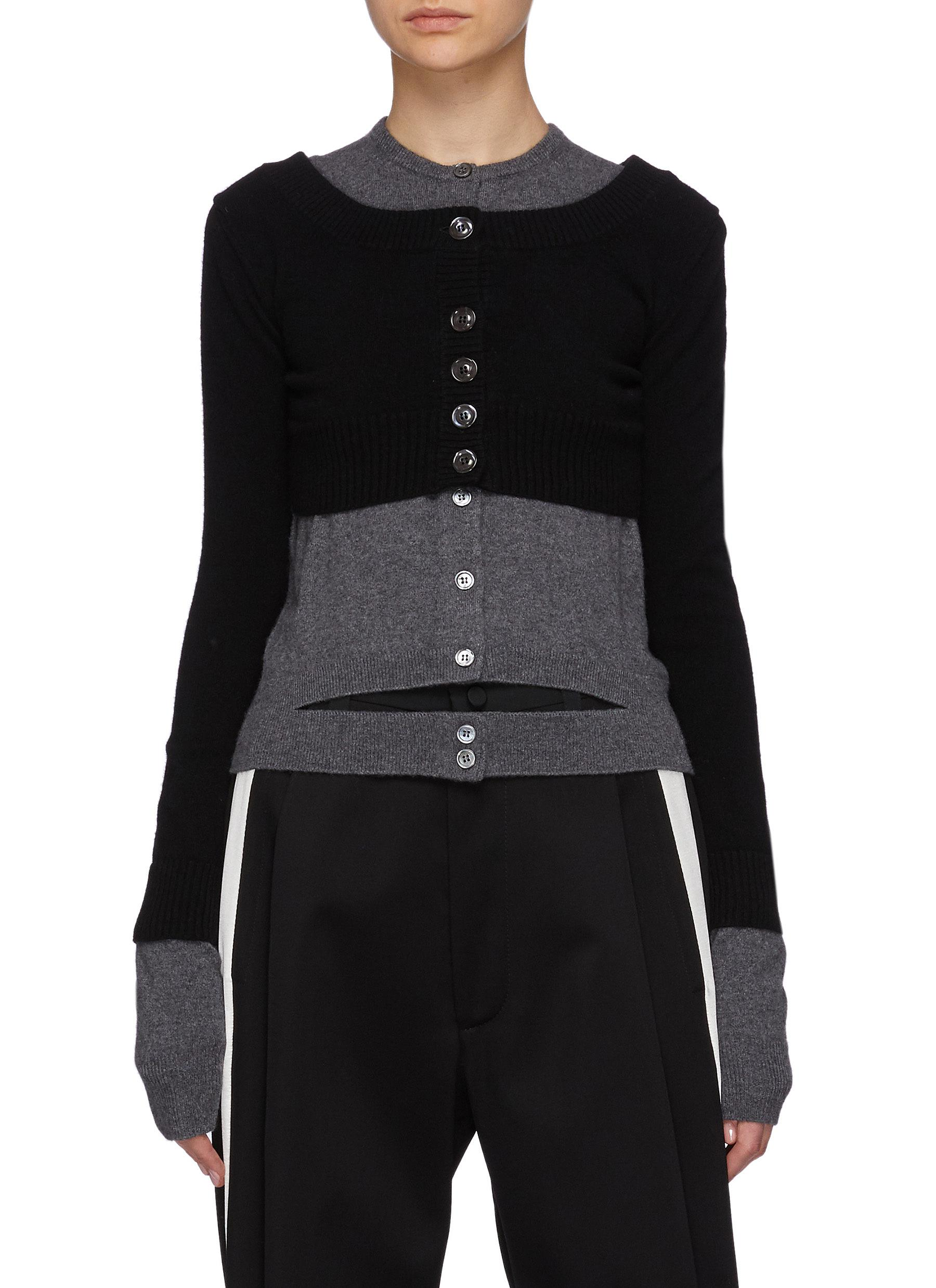 Layered Cut-out Cashmere Cardigan