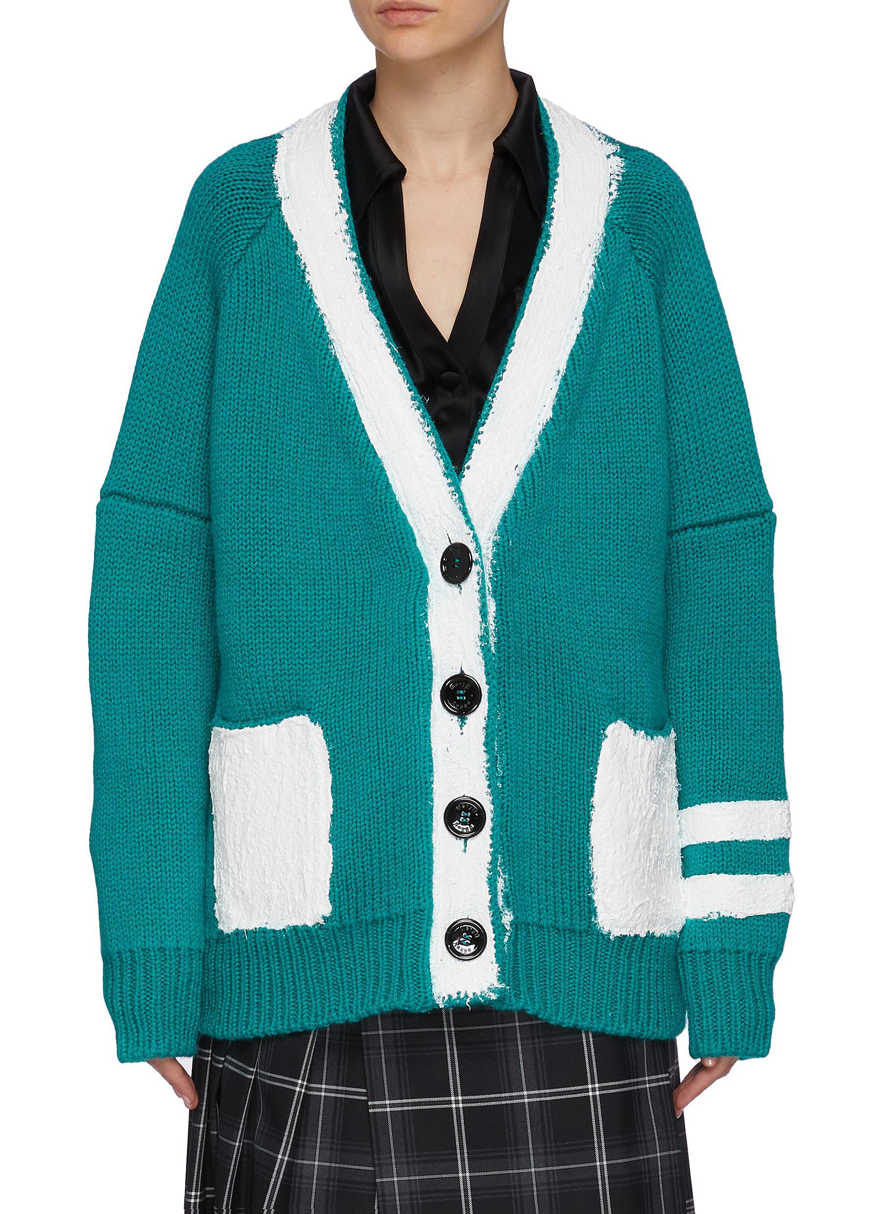 Contrast Paint Stroke Wool Cashmere Blend Cardigan