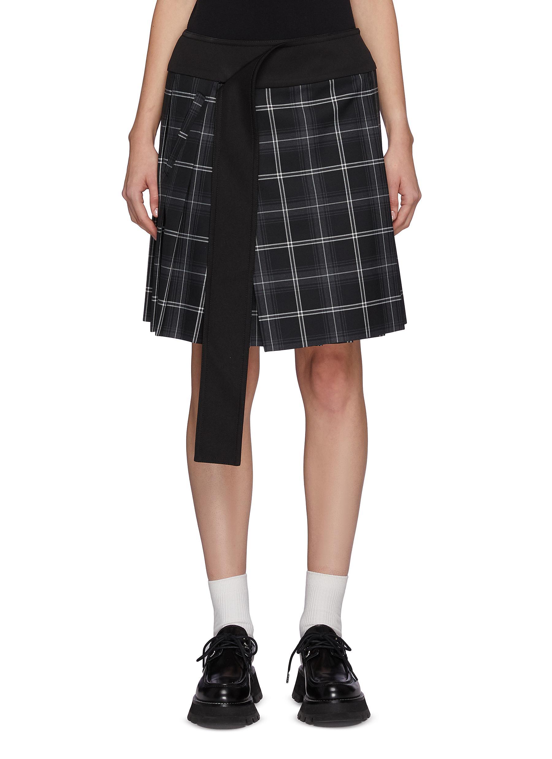 Draped Waistband Checker Pleated Skirt