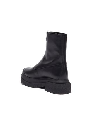 - STUART WEITZMAN - Charlie Zip Sportlift Flatform Leather Ankle Boots