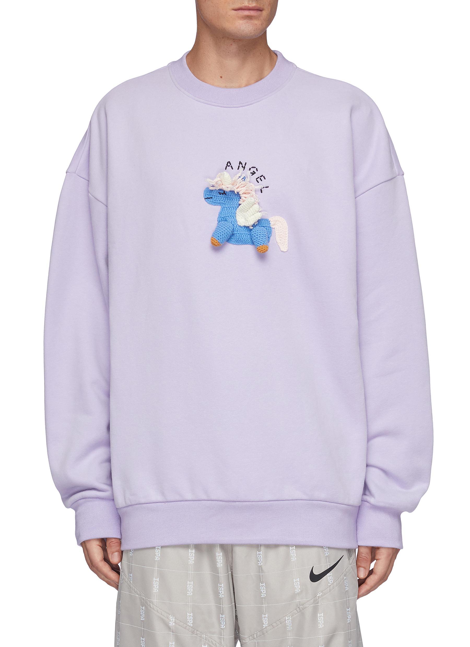 Oversize Hand Crochet Unicorn Sweatshirt