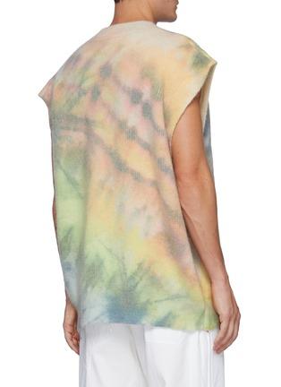 Back View - Click To Enlarge - ANGEL CHEN - Oversized Tie Dye Print Wool Blend V Neck Vest