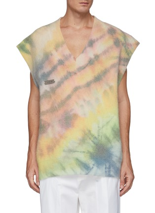 Main View - Click To Enlarge - ANGEL CHEN - Oversized Tie Dye Print Wool Blend V Neck Vest
