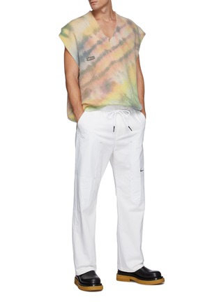 Figure View - Click To Enlarge - ANGEL CHEN - Oversized Tie Dye Print Wool Blend V Neck Vest