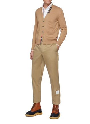 Figure View - Click To Enlarge - THOM BROWNE - Logo Tab Cotton Twill Chino Pants