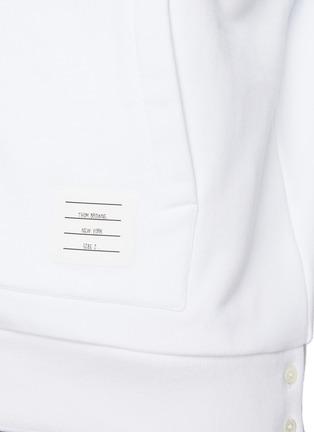- THOM BROWNE - Back Tricolour Stripe Cotton Zip-up Hoodie