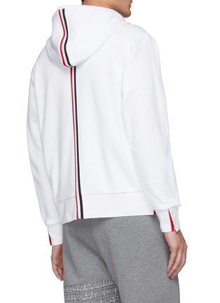 Back View - Click To Enlarge - THOM BROWNE - Back Tricolour Stripe Cotton Zip-up Hoodie