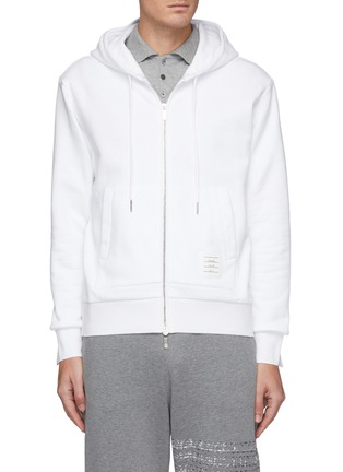 Main View - Click To Enlarge - THOM BROWNE - Back Tricolour Stripe Cotton Zip-up Hoodie