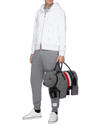 Figure View - Click To Enlarge - THOM BROWNE - Back Tricolour Stripe Cotton Zip-up Hoodie