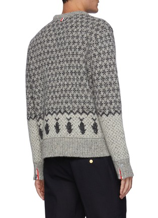 Back View - Click To Enlarge - THOM BROWNE - Bear Graphic Fair Isle Jacquard Knit wool blend Crewneck Jumper