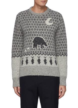 Main View - Click To Enlarge - THOM BROWNE - Bear Graphic Fair Isle Jacquard Knit wool blend Crewneck Jumper