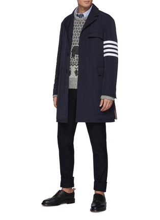 Figure View - Click To Enlarge - THOM BROWNE - Bear Graphic Fair Isle Jacquard Knit wool blend Crewneck Jumper