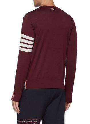 Back View - Click To Enlarge - THOM BROWNE - Four Bar Stripe Merino Wool Crewneck Sweater