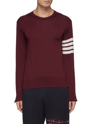 Main View - Click To Enlarge - THOM BROWNE - Four Bar Stripe Merino Wool Crewneck Sweater