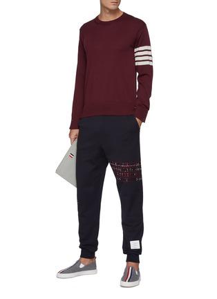 Figure View - Click To Enlarge - THOM BROWNE - Four Bar Stripe Merino Wool Crewneck Sweater