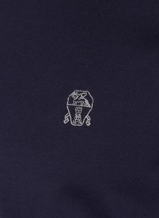 - BRUNELLO CUCINELLI - Double Bar Logo Embroidered Cotton T-shirt