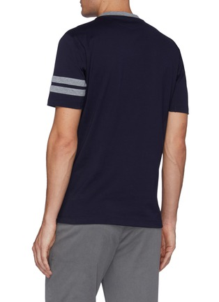 Back View - Click To Enlarge - BRUNELLO CUCINELLI - Double Bar Logo Embroidered Cotton T-shirt