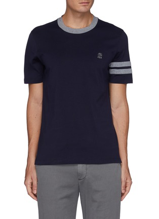 Main View - Click To Enlarge - BRUNELLO CUCINELLI - Double Bar Logo Embroidered Cotton T-shirt