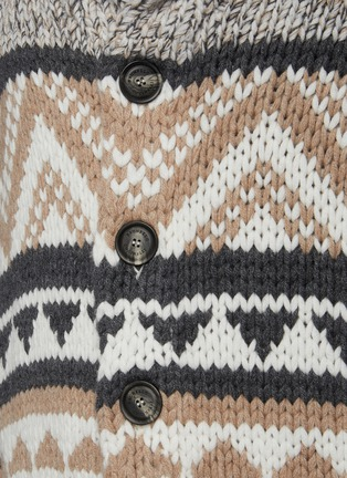 - BRUNELLO CUCINELLI - Shawl Collar Geometric Pattern Jacquard Wool Cashmere Silk Blend Cardigan