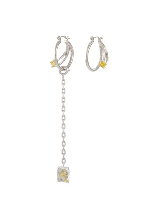 Main View - Click To Enlarge - YUESPHERE - Core' Chain Drop Cubic Zirconia Sterling Silver Hoop Earrings