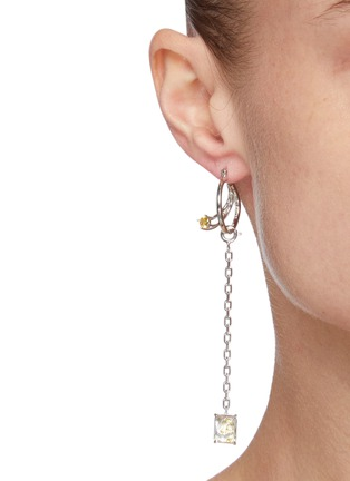 Figure View - Click To Enlarge - YUESPHERE - Core' Chain Drop Cubic Zirconia Sterling Silver Hoop Earrings