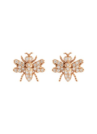 Main View - Click To Enlarge - BEE GODDESS - Diamond 14k Rose Gold Bee Stud Earrings