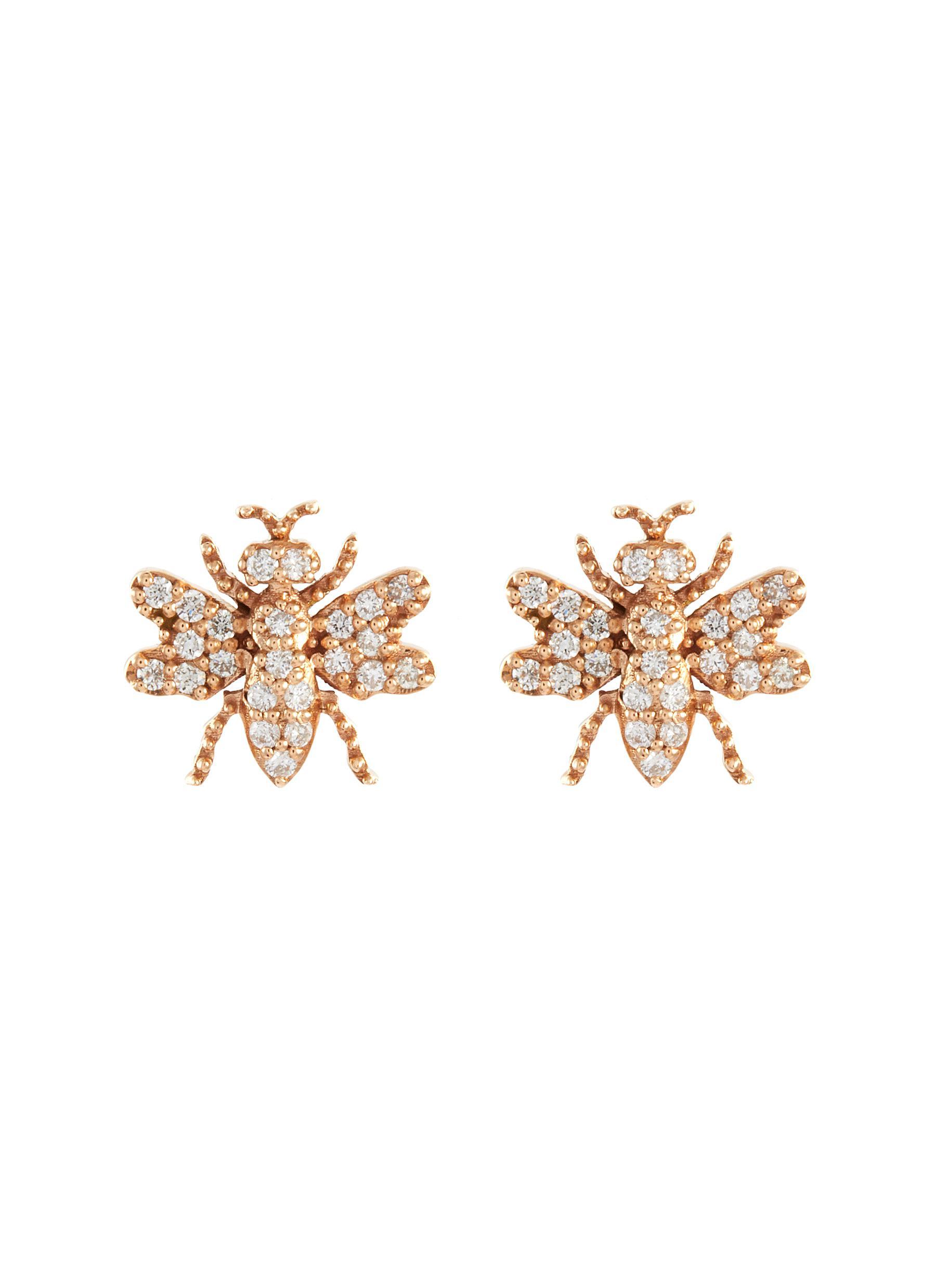 Diamond 14k Rose Gold Bee Stud Earrings - BEE GODDESS - Modalova