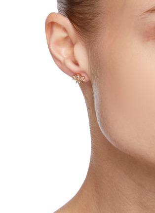 Figure View - Click To Enlarge - BEE GODDESS - Diamond 14k Rose Gold Bee Stud Earrings